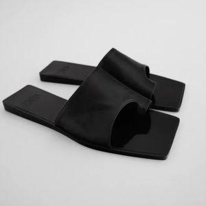 Zara leather black Assymetrical Slide Sandals